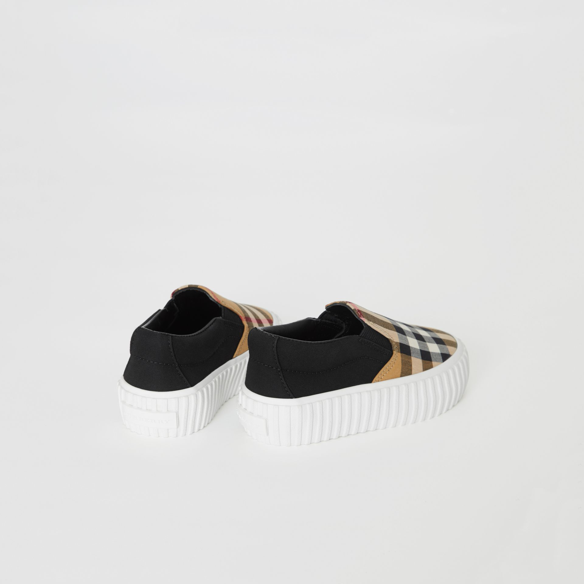 Vintage Check Detail Cotton Slip-on Sneakers in Black/antique Yellow - Children | Burberry - gallery image 2