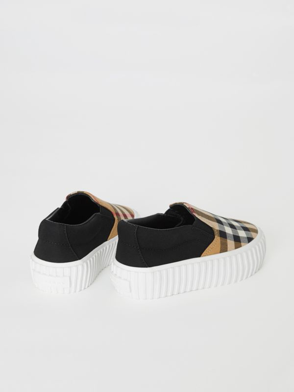 Vintage Check Detail Cotton Slip-on Sneakers in Black/antique Yellow - Children | Burberry - cell image 2