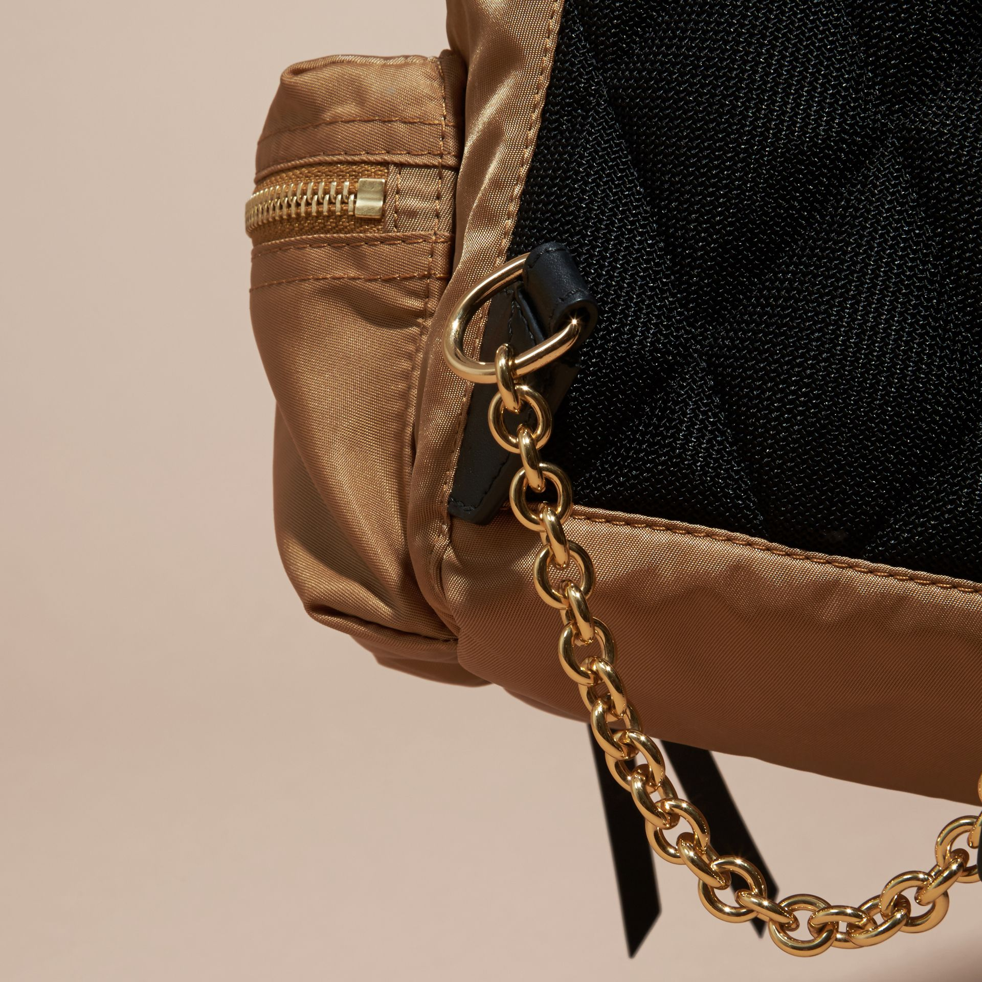 The Small Rucksack in Technical Nylon and Leather in Light Flax - Women | Burberry - gallery image 5
