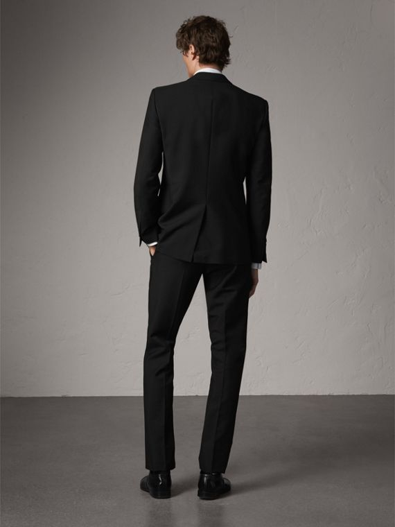 Modern Fit Wool Mohair Part-canvas Jacket in Black - Men | Burberry Hong Kong - cell image 2