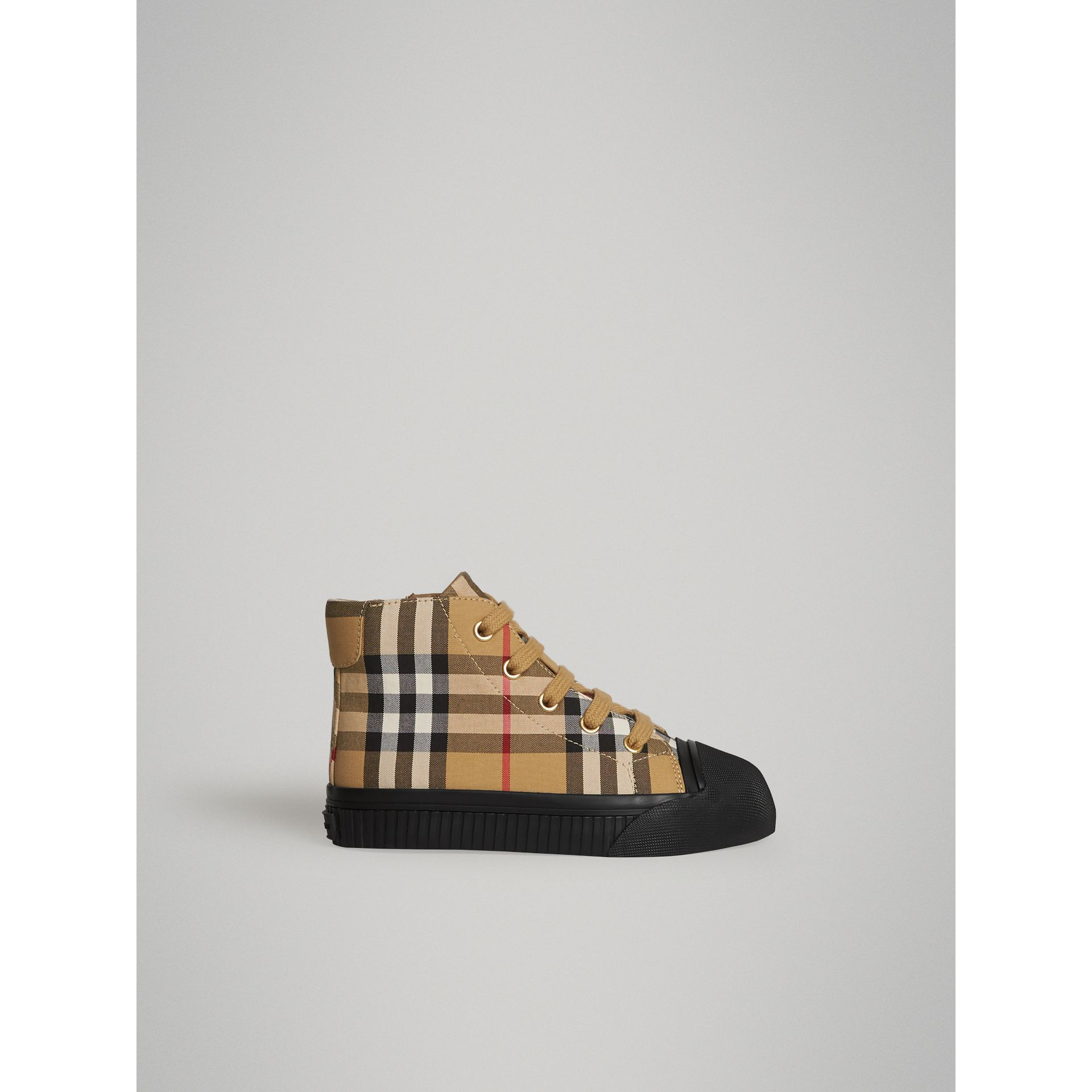 Vintage Check and Leather High-top Sneakers in Antique Yellow/black | Burberry Singapore - gallery image 3