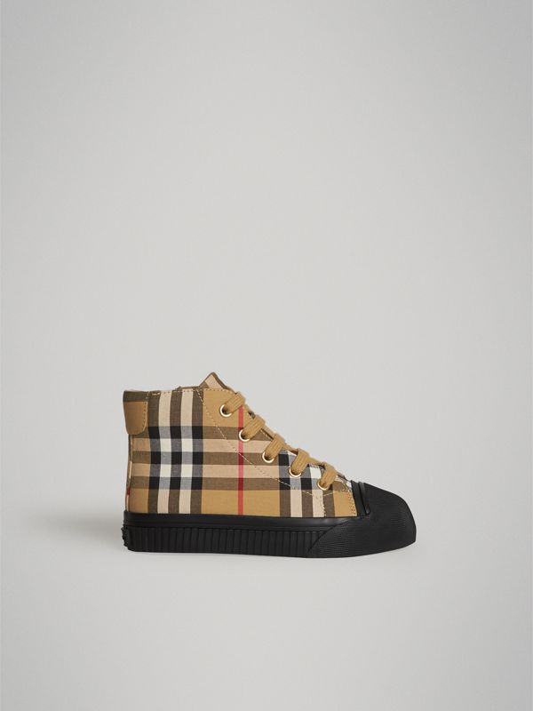 Vintage Check and Leather High-top Sneakers in Antique Yellow/black | Burberry - cell image 3