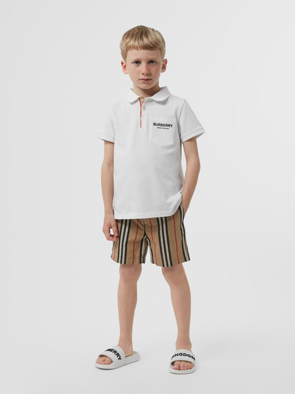 Icon Stripe Placket Cotton Piqué Polo Shirt in White | Burberry - cell image 2