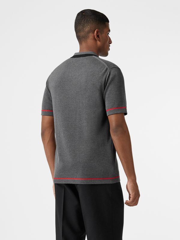 Monogram Motif Tipped Cotton Polo Shirt in Dark Grey Melange - Men | Burberry Singapore - cell image 2