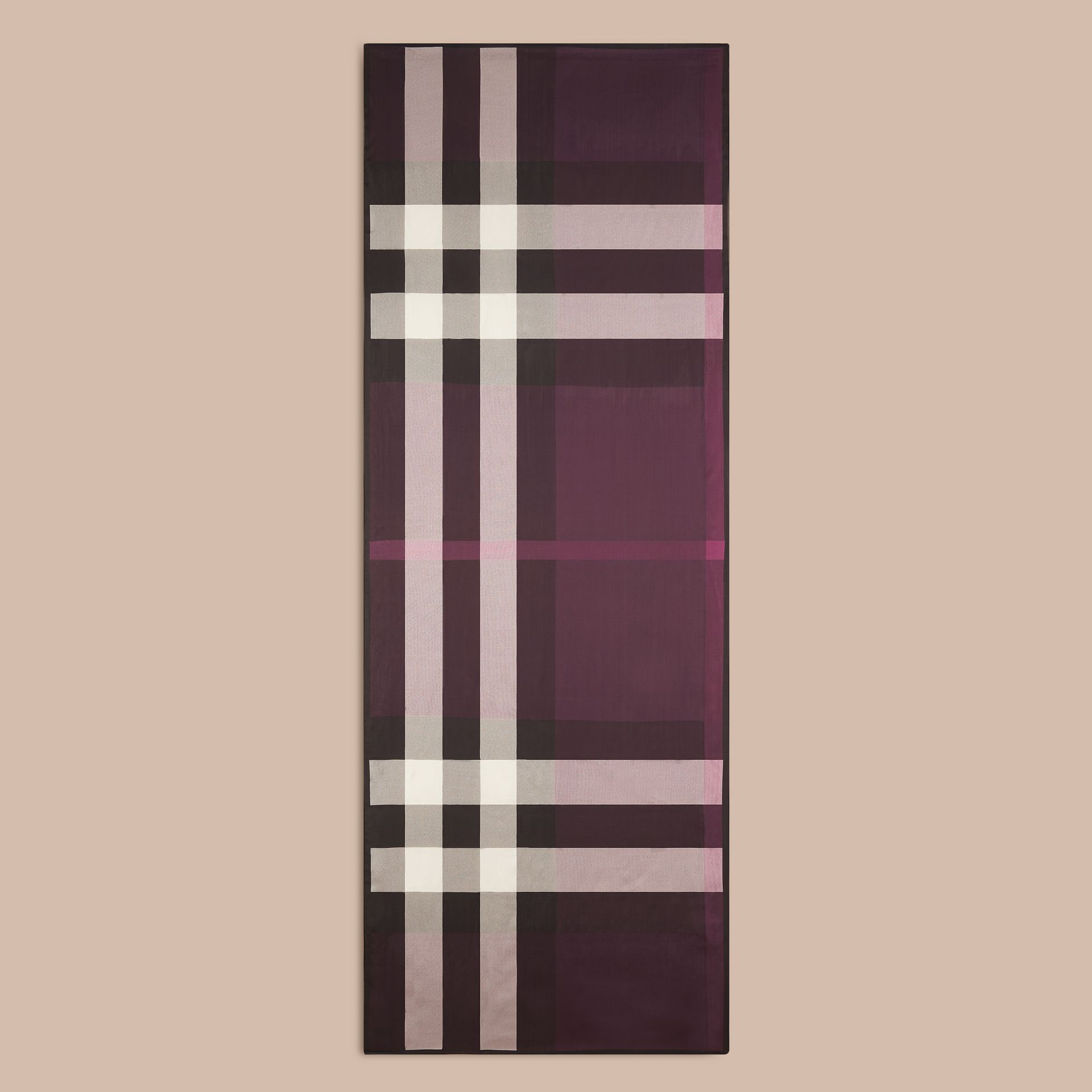 Lightweight Check Silk Scarf in Aubergine - Women | Burberry - gallery image 4