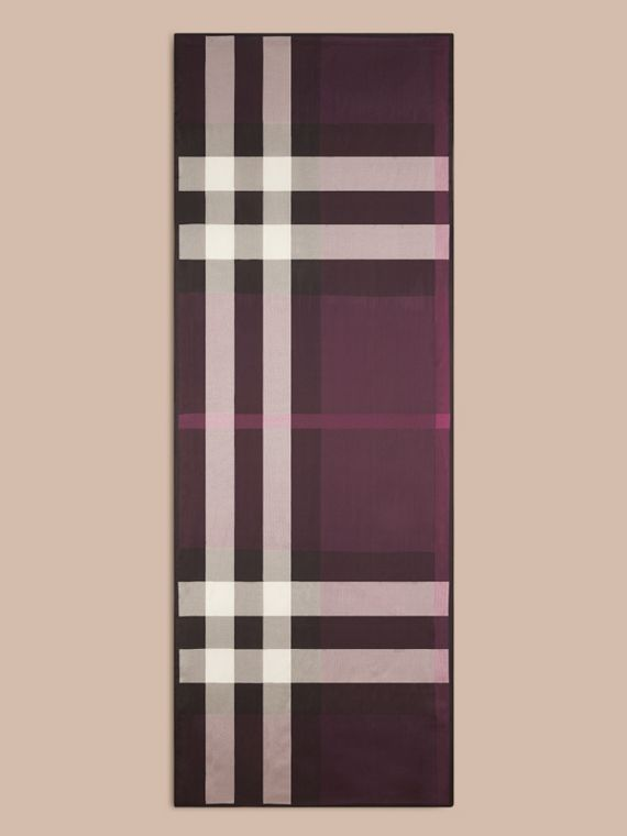 Lightweight Check Silk Scarf in Aubergine - Women | Burberry - cell image 3