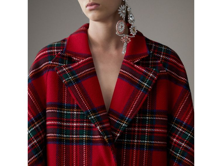 Tartan Double-faced Wool Cashmere Oversized Coat in Bright Red/dark Grey - Women | Burberry Singapore - cell image 1