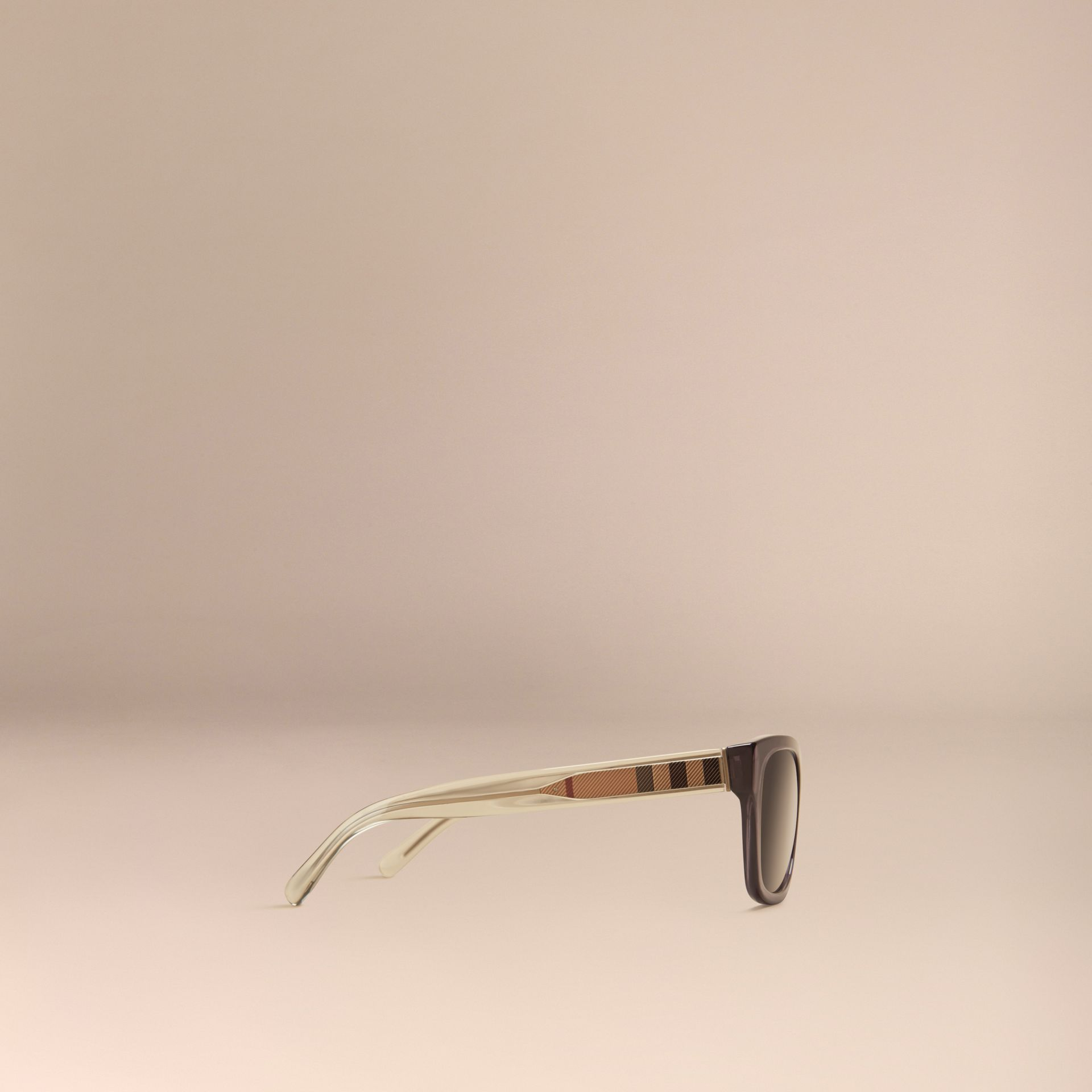 Dark grey Check Detail Square Frame Sunglasses Dark Grey - gallery image 5