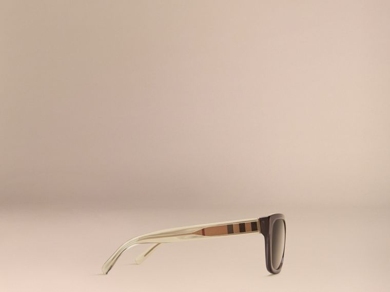 Dark grey Check Detail Square Frame Sunglasses Dark Grey - cell image 4
