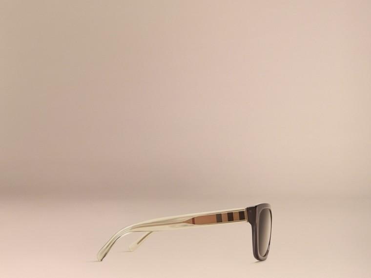Grigio scuro Occhiali da sole con montatura quadrata e dettaglio check Grigio Scuro - cell image 4