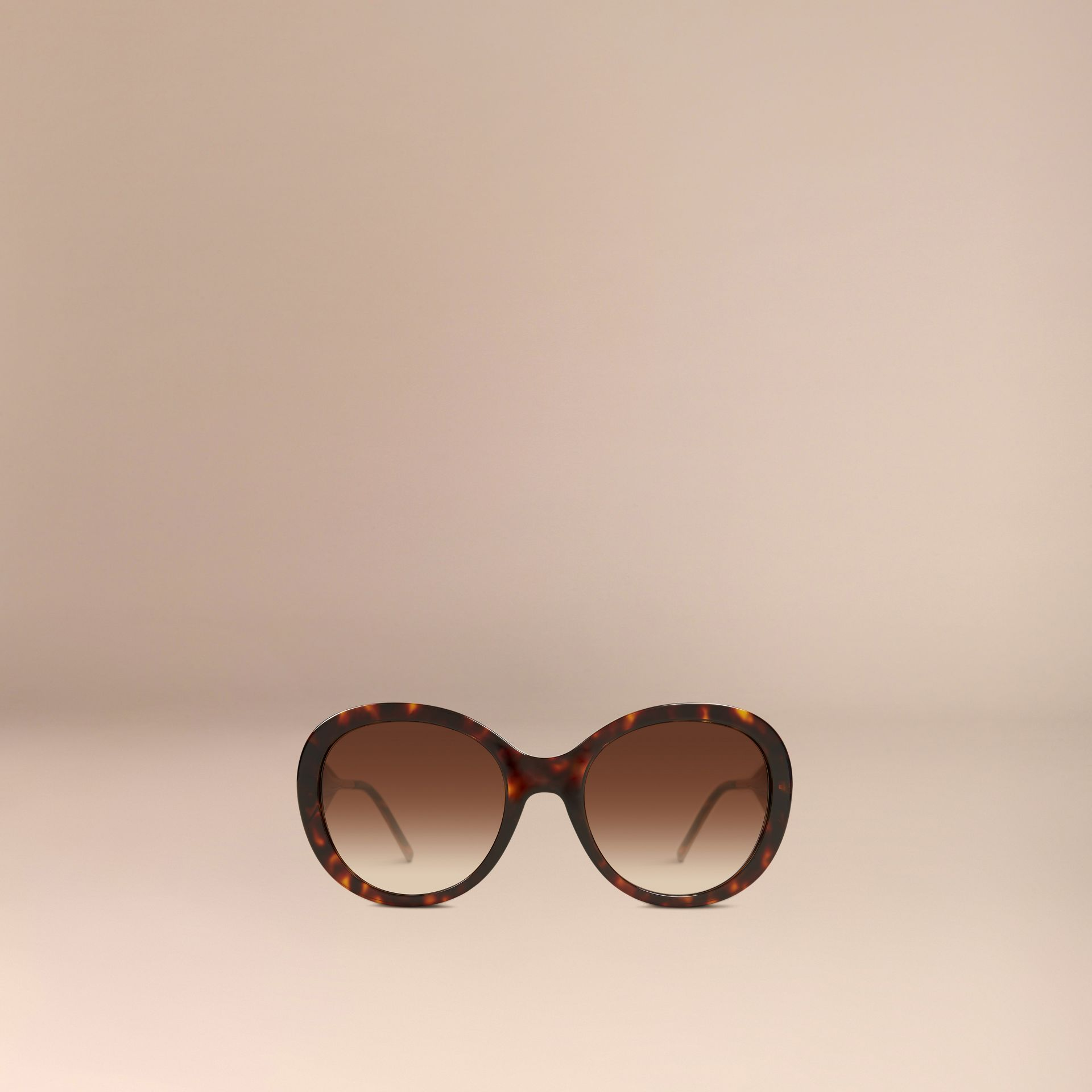 Gabardine Collection Oversize Round Frame Sunglasses in Ebony - Women | Burberry - gallery image 3