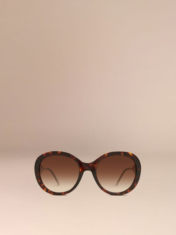 Gabardine Collection Oversize Round Frame Sunglasses in Ebony - Women | Burberry - cell image 2
