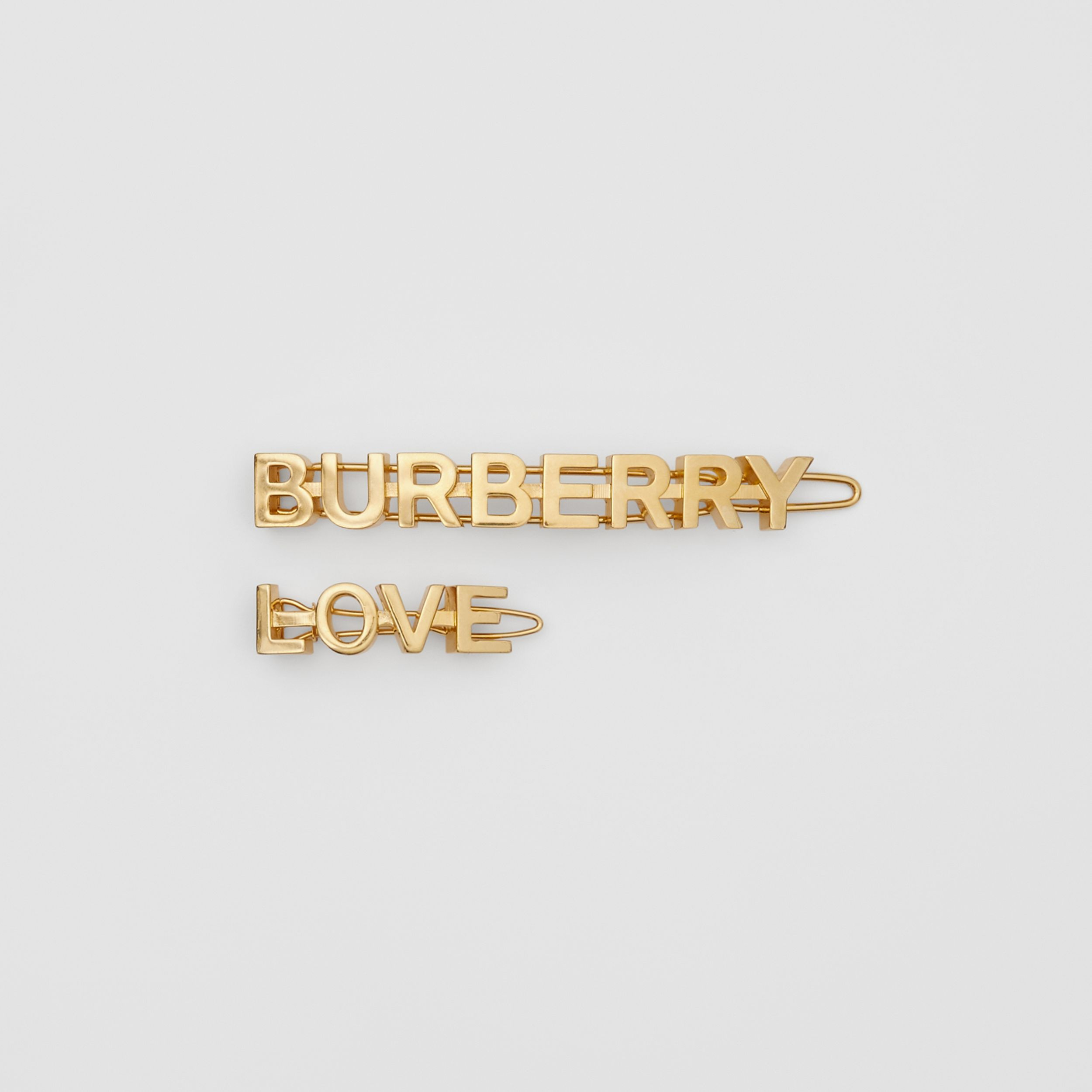 Gold-plated Logo and Love Hair Clips in Light - Women | Burberry - 1