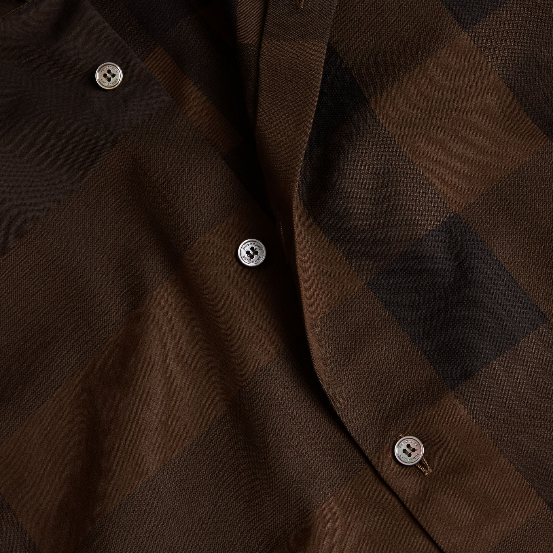 Chocolate check Short-sleeved Check Cotton Shirt Chocolate - gallery image 2
