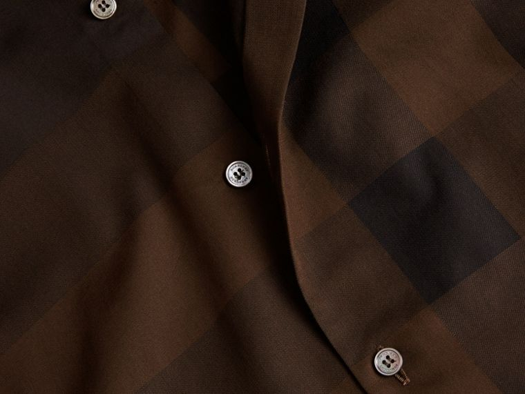 Chocolate check Short-sleeved Check Cotton Shirt Chocolate - cell image 1