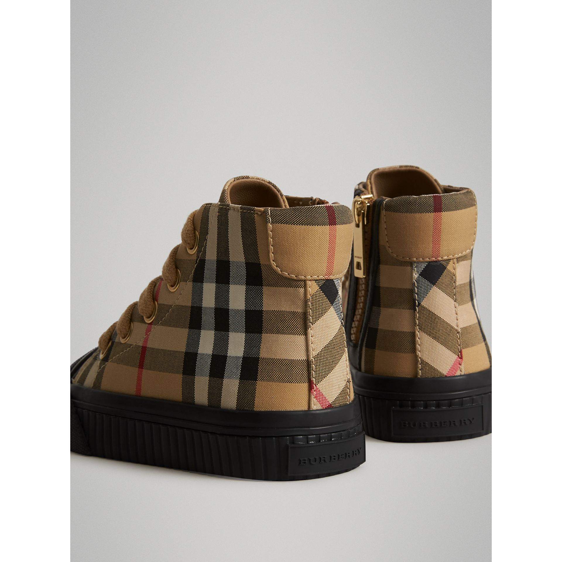 Vintage Check and Leather High-top Sneakers in Antique Yellow/black - Children | Burberry Canada - gallery image 2