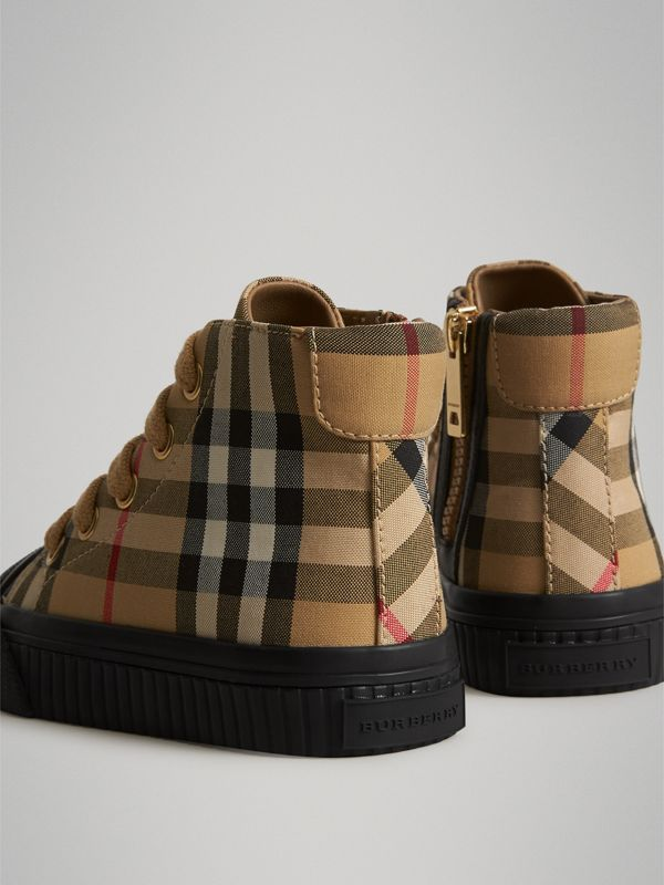Vintage Check and Leather High-top Sneakers in Antique Yellow/black - Children | Burberry Canada - cell image 2
