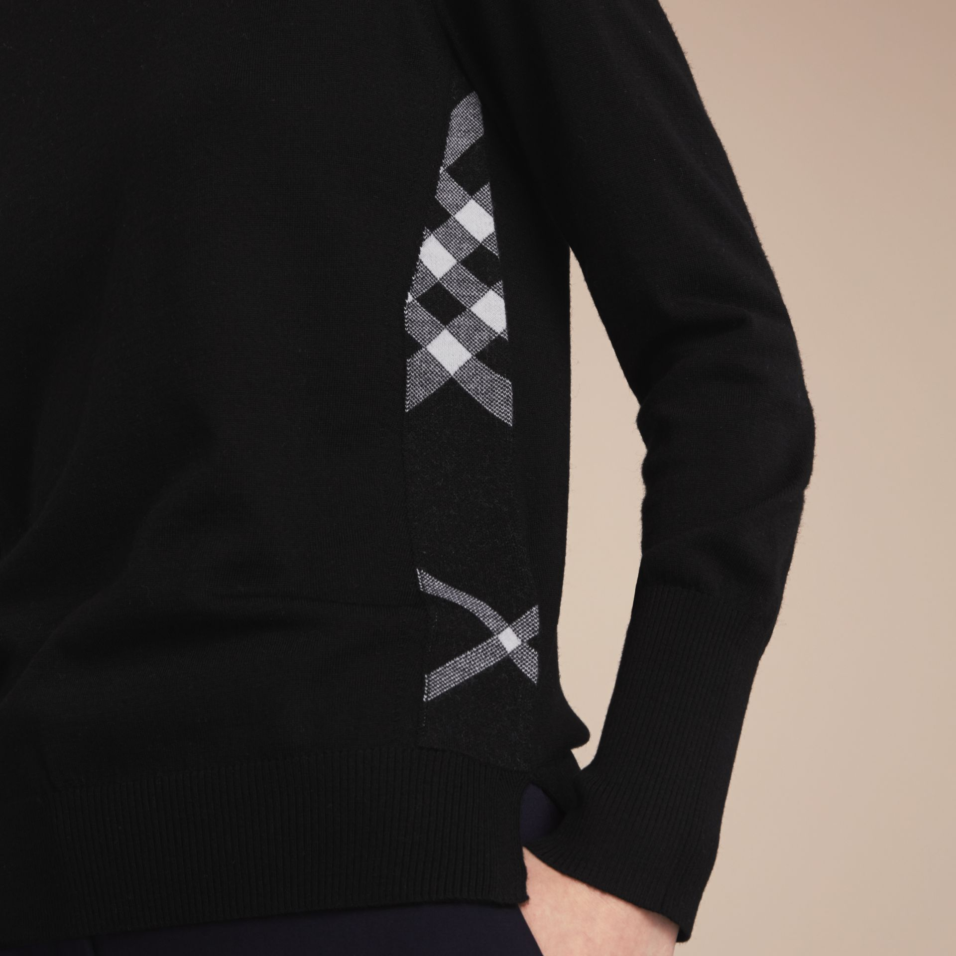 Check Detail Merino Wool Sweater in Black - Women | Burberry - gallery image 5