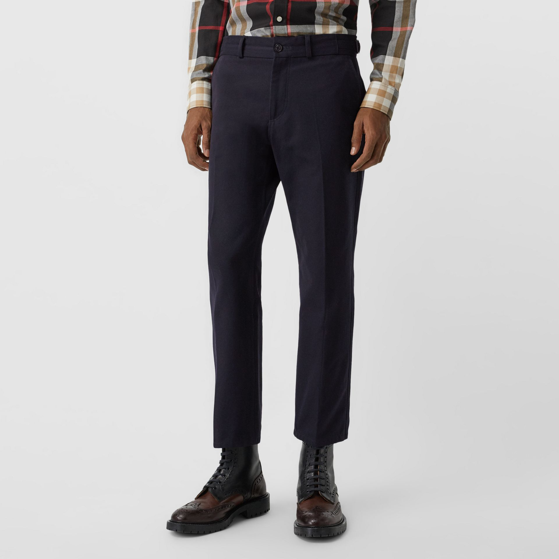 Cotton Blend Twill Cropped Chinos in Dark Navy - Men | Burberry United Kingdom - gallery image 4
