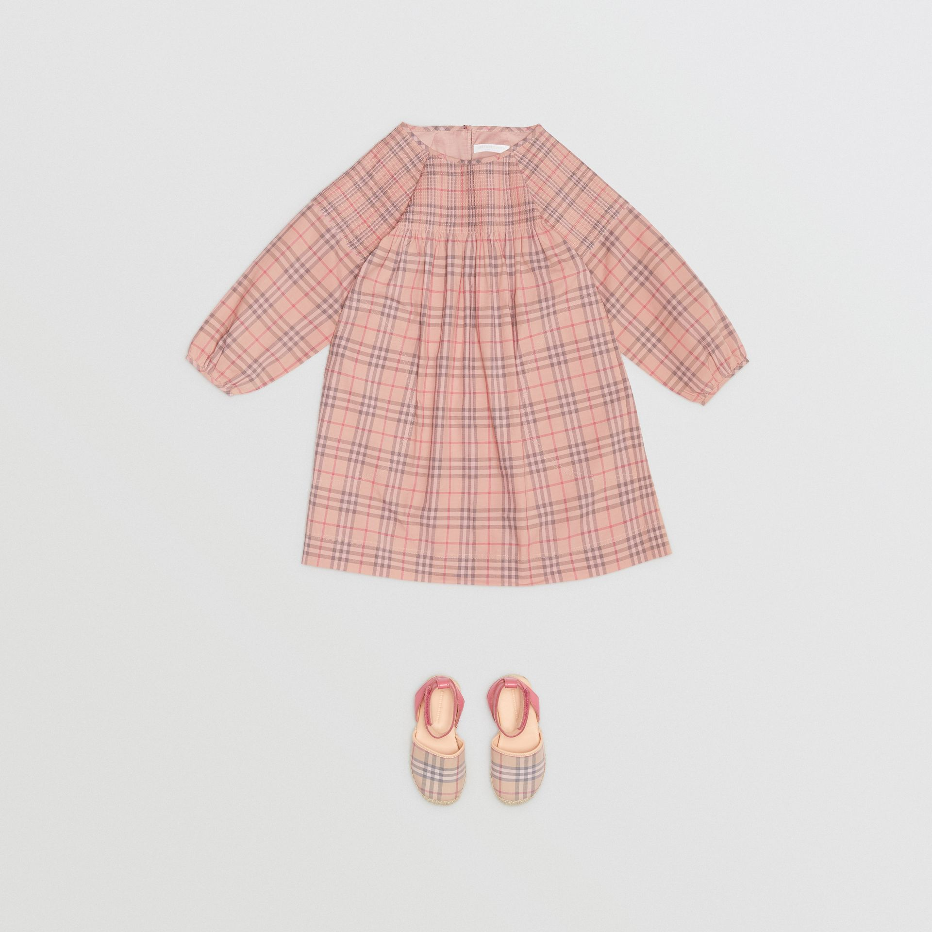 Robe en popeline de coton à motif check (Rose Pâle) | Burberry - photo de la galerie 2