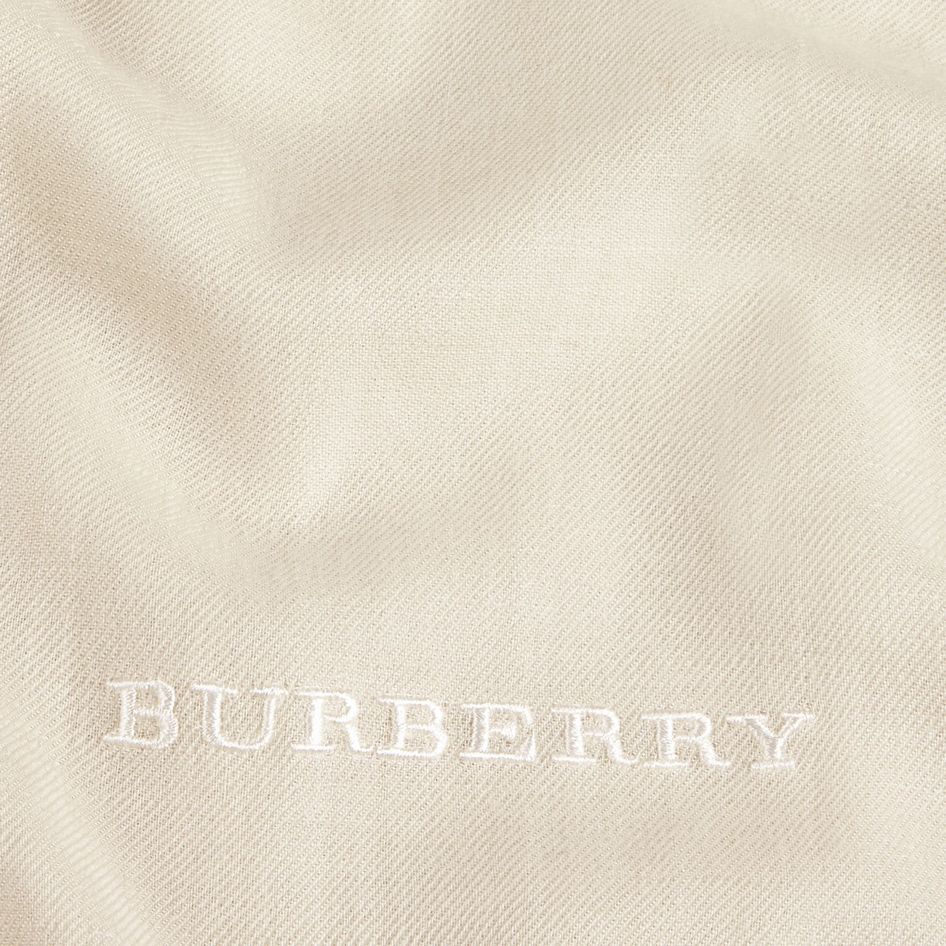 The Lightweight Cashmere Scarf in Natural White | Burberry - gallery image 5