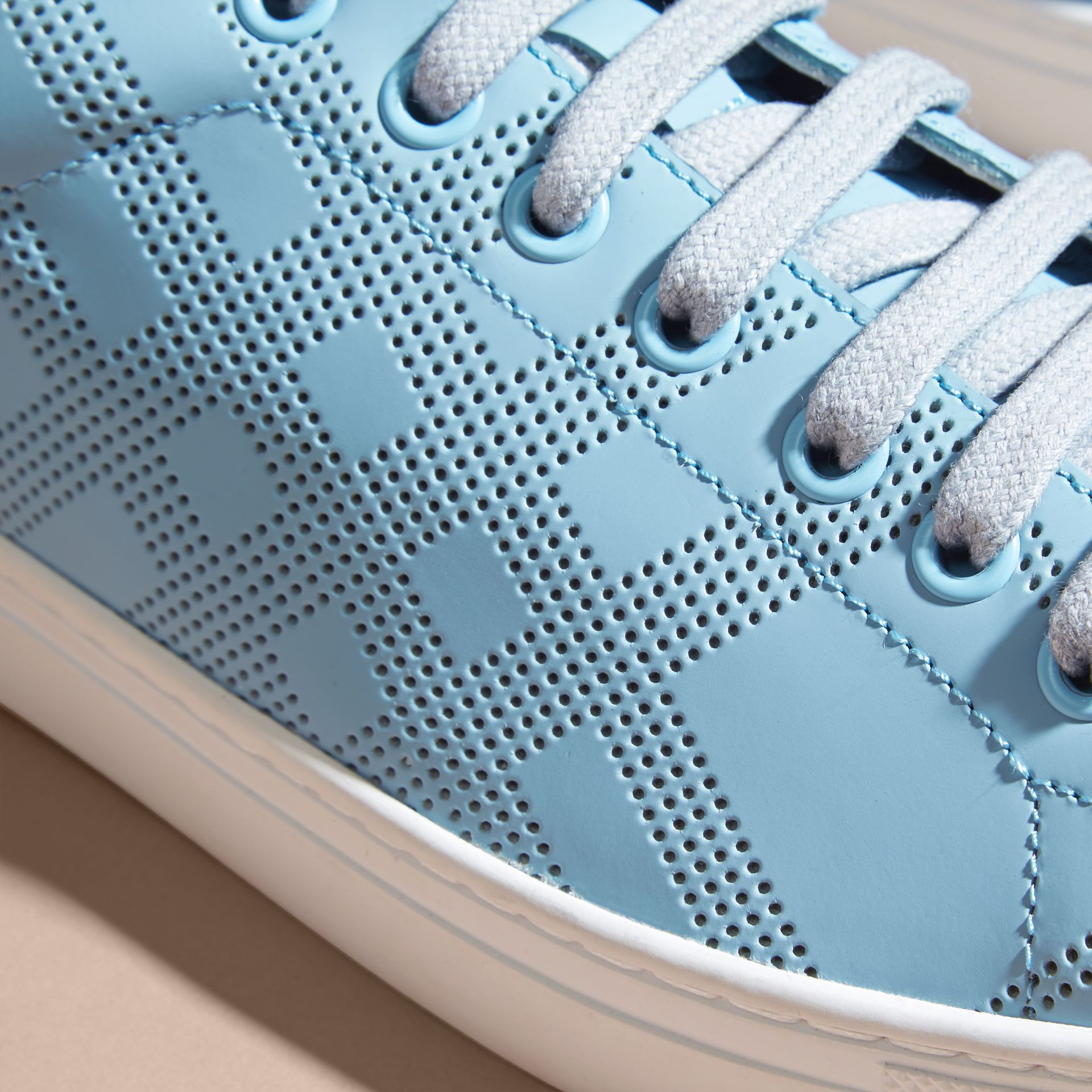 Powder blue/deep claret melange Perforated Check Leather Trainers Powder Blue/deep Claret Melange - gallery image 2