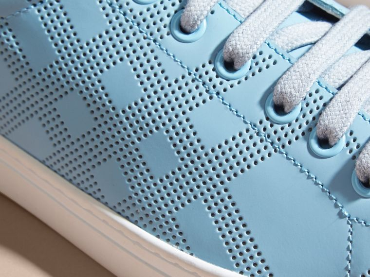 Powder blue/deep claret melange Perforated Check Leather Trainers Powder Blue/deep Claret Melange - cell image 1