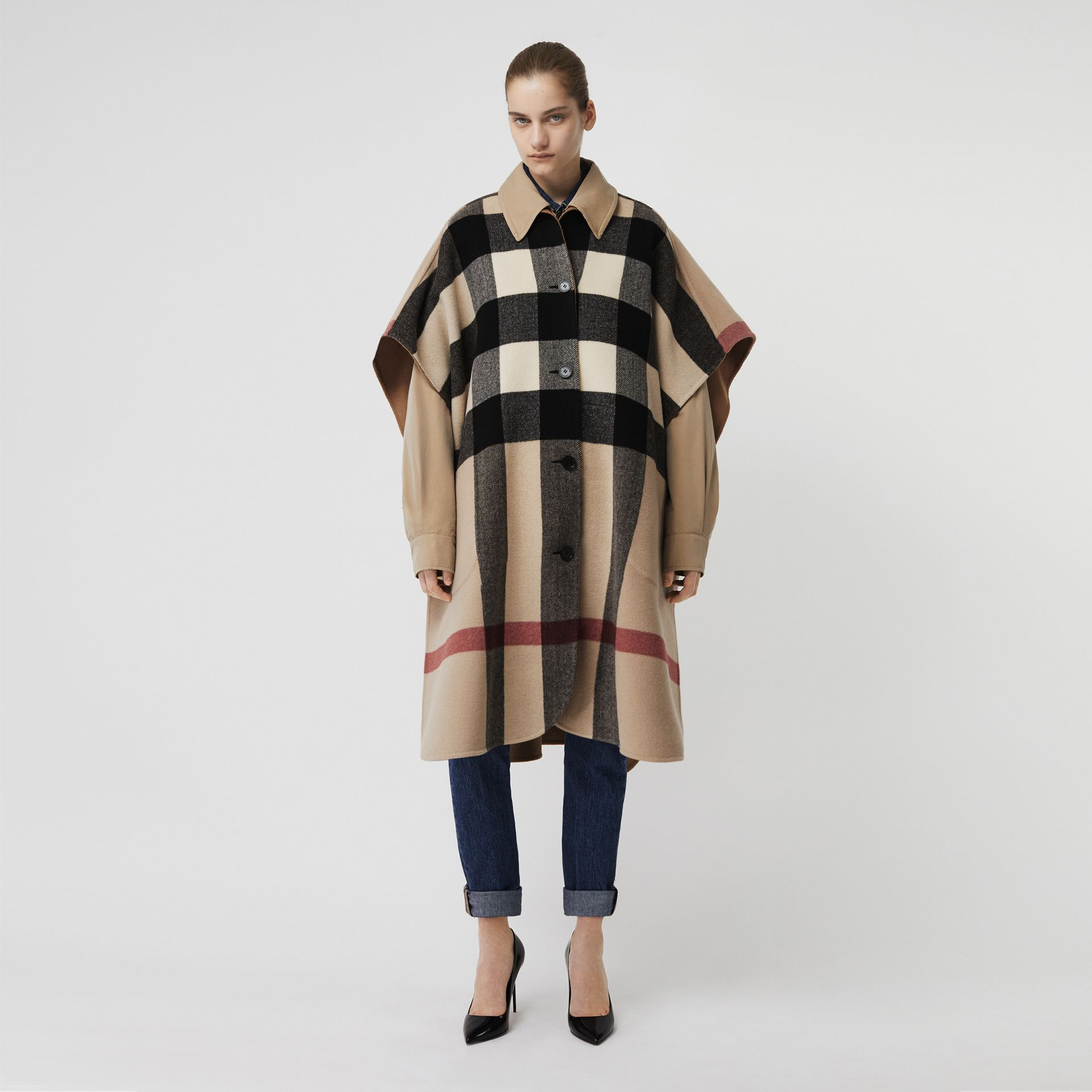 Reversible Check Wool Blend Poncho in Camel | Burberry - gallery image 0
