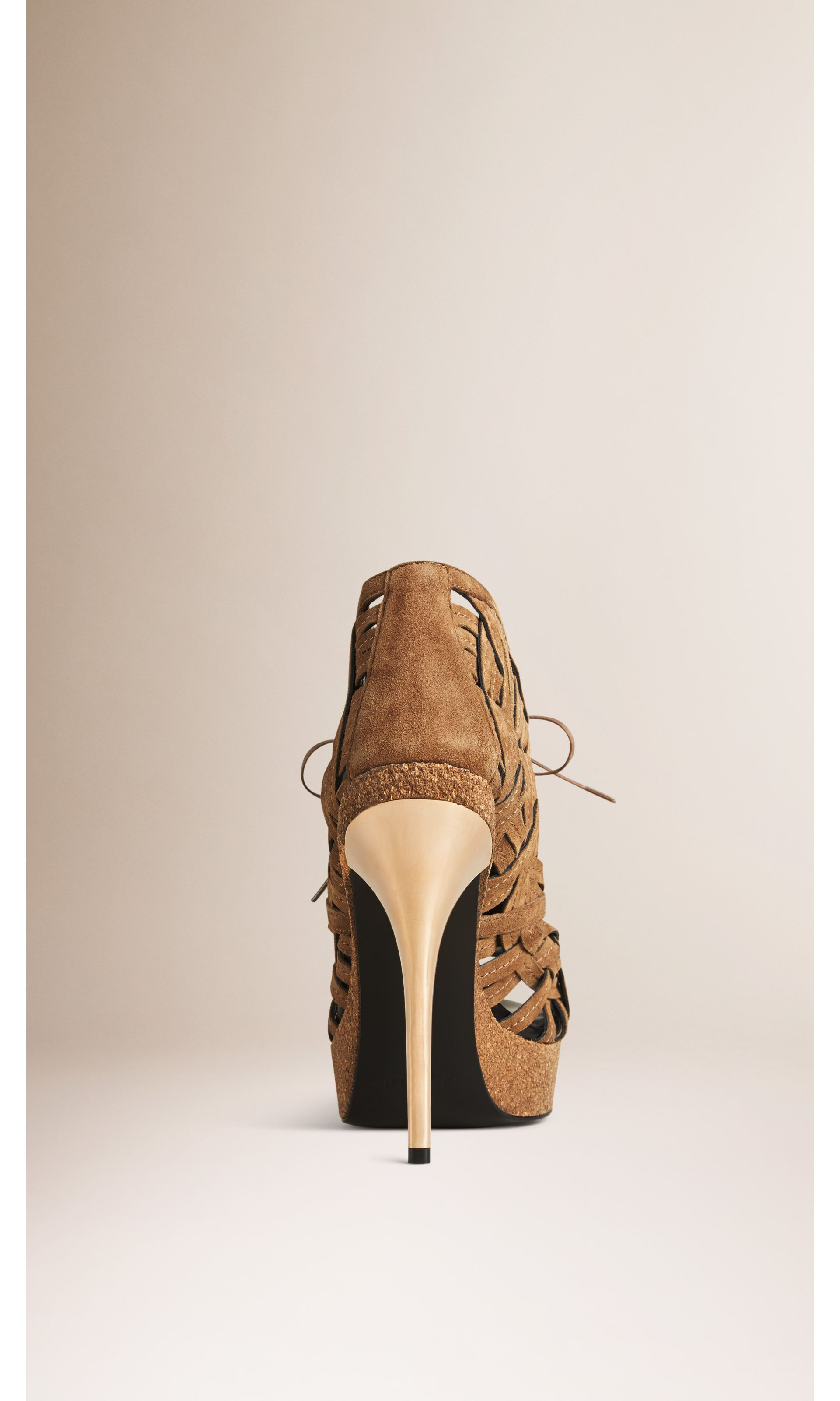 Woven Suede Ankle Boots in Walnut Brown - Women | Burberry United States - gallery image 1