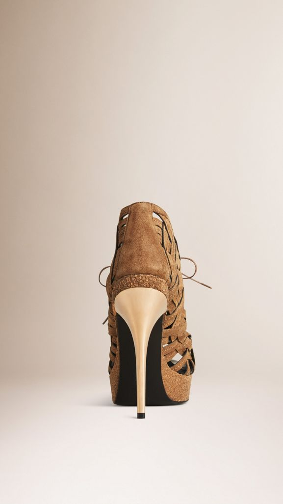 Woven Suede Ankle Boots in Walnut Brown - Women | Burberry United States - cell image 1