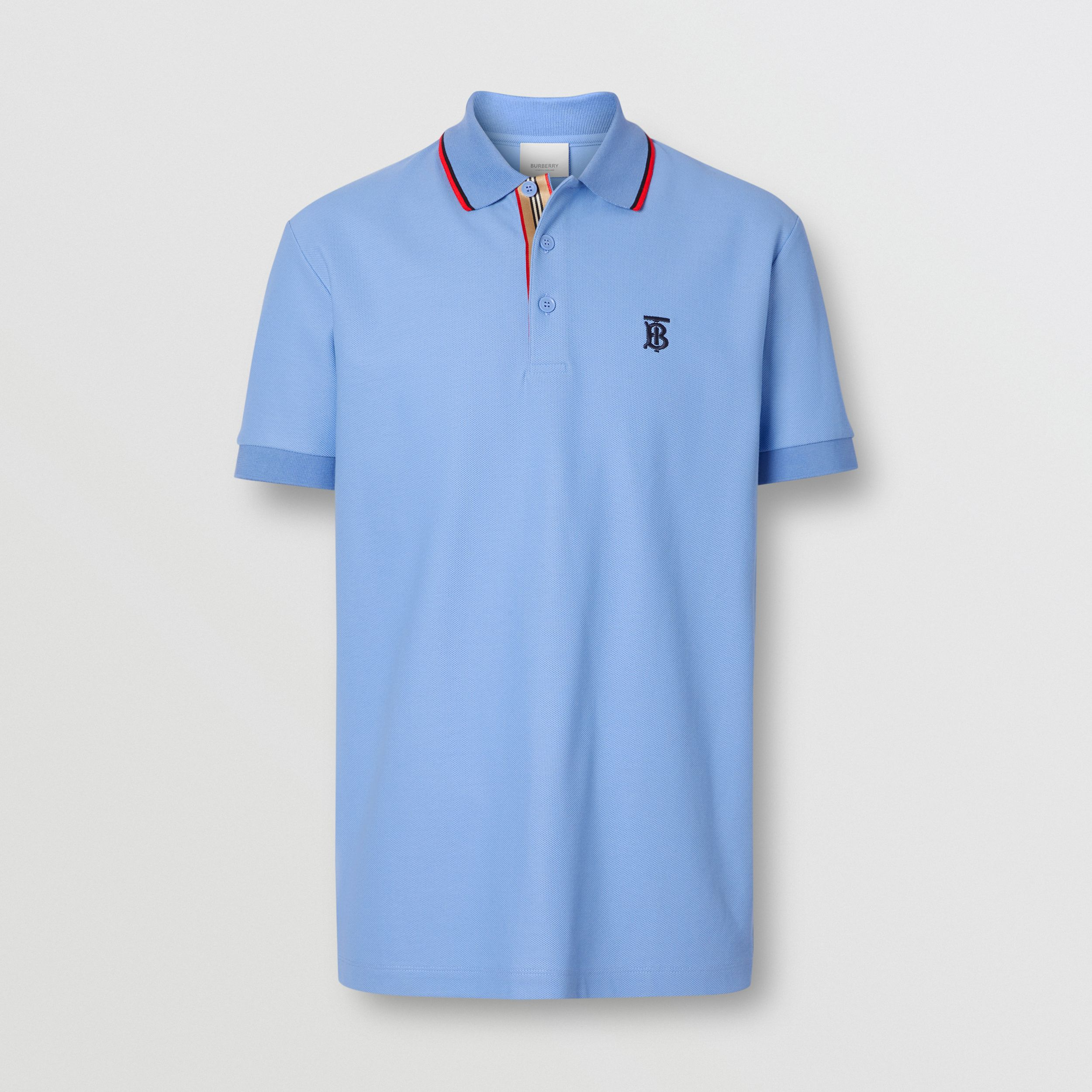 Monogram Motif Cotton Piqué Polo Shirt in Opal Blue - Men | Burberry Australia - 4