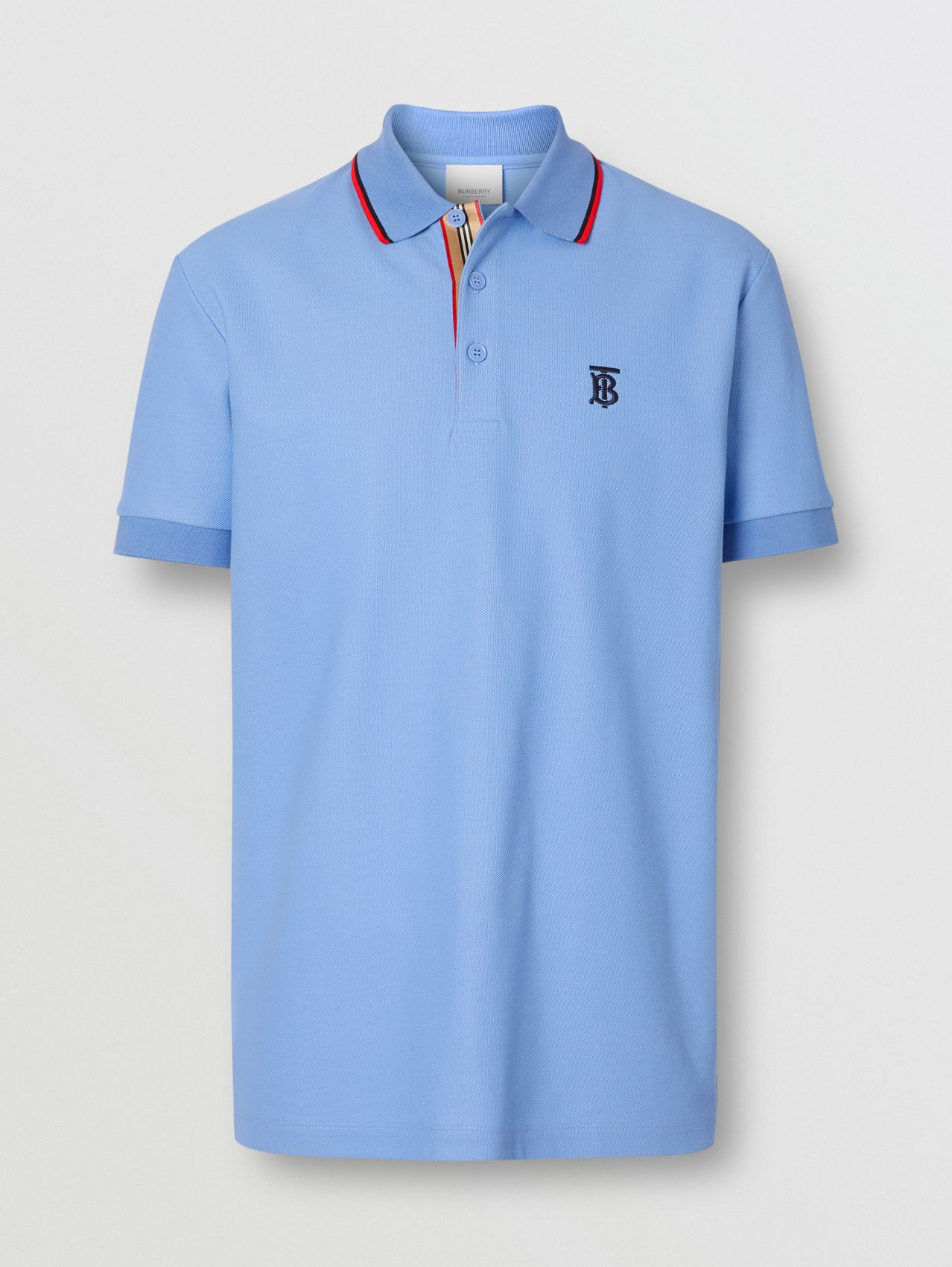 Monogram Motif Cotton Piqué Polo Shirt (Opal Blue)