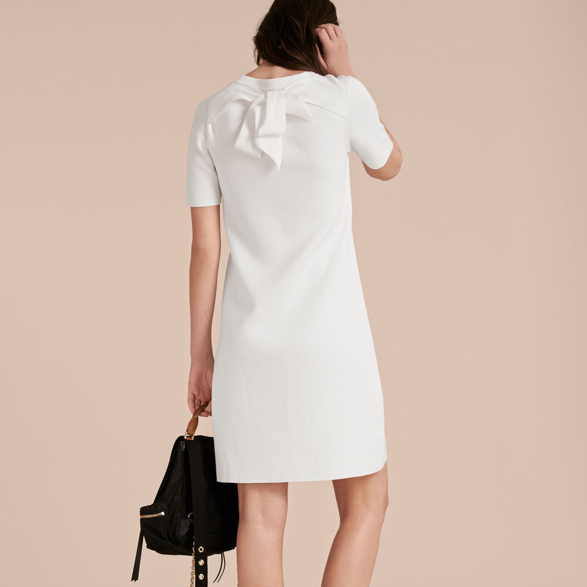 Natural white A-lIne Cotton Piqué Dress with Bow Detail - gallery image 3