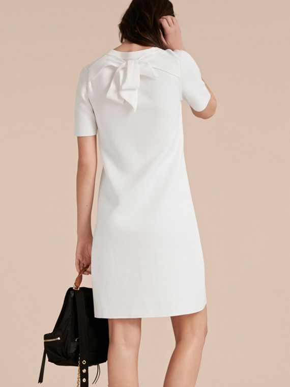 Natural white A-lIne Cotton Piqué Dress with Bow Detail - cell image 2