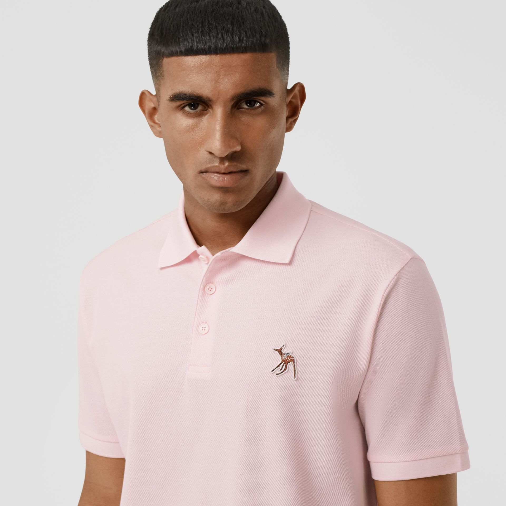 Deer Appliqué Cotton Piqué Polo Shirt in Alabaster Pink - Men | Burberry - gallery image 1