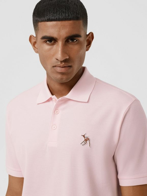 Deer Appliqué Cotton Piqué Polo Shirt in Alabaster Pink - Men | Burberry - cell image 1