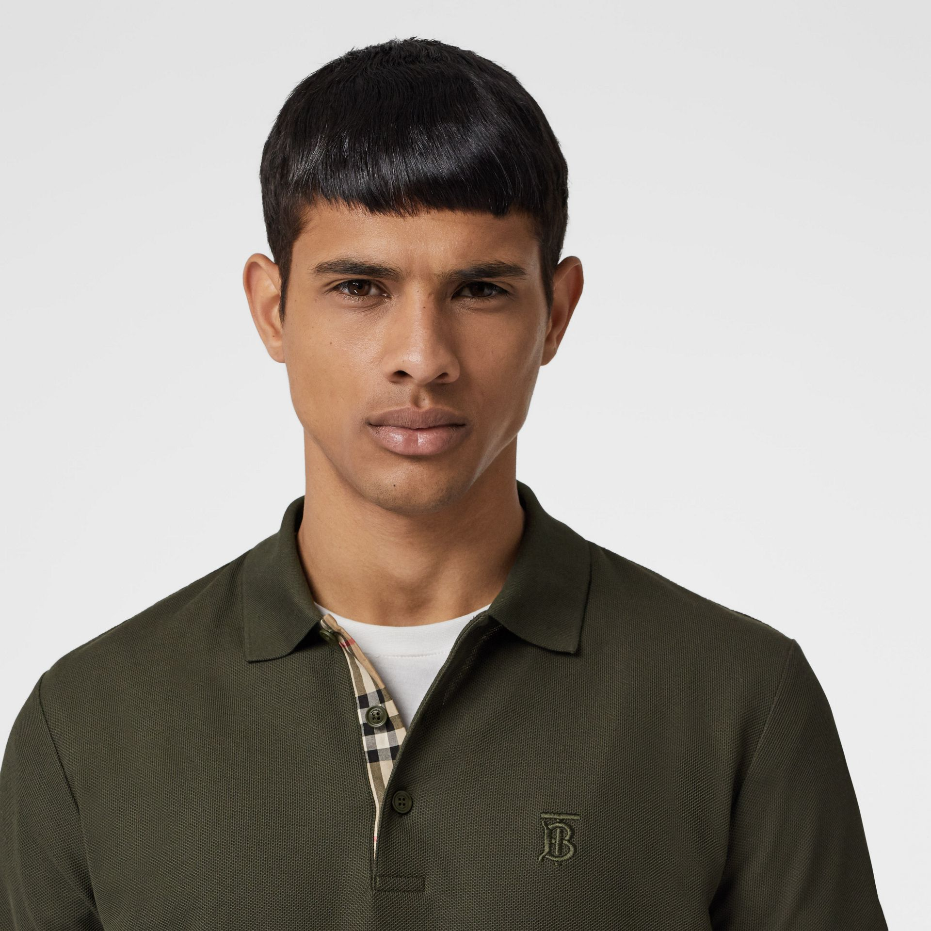 Monogram Motif Cotton Piqué Polo Shirt in Seaweed - Men | Burberry - gallery image 1