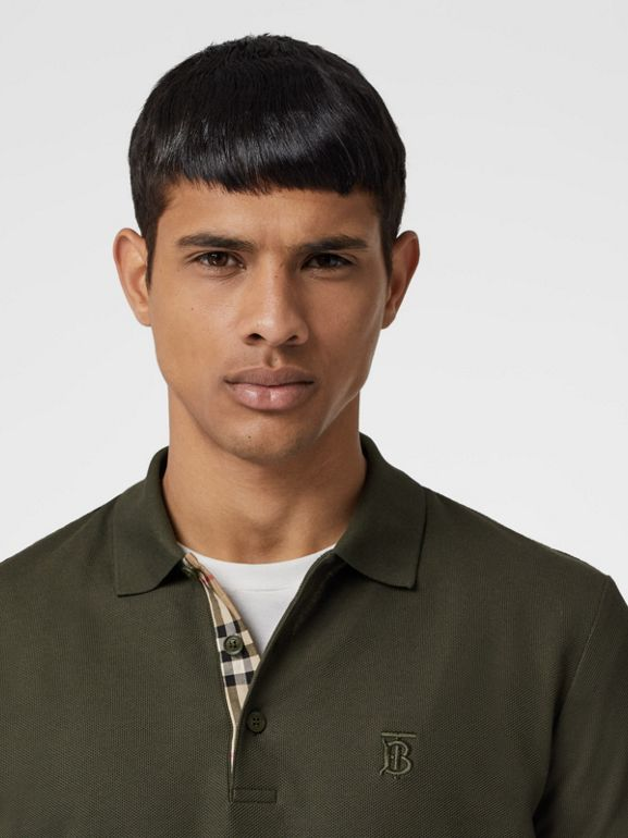 Monogram Motif Cotton Piqué Polo Shirt in Seaweed - Men | Burberry - cell image 1
