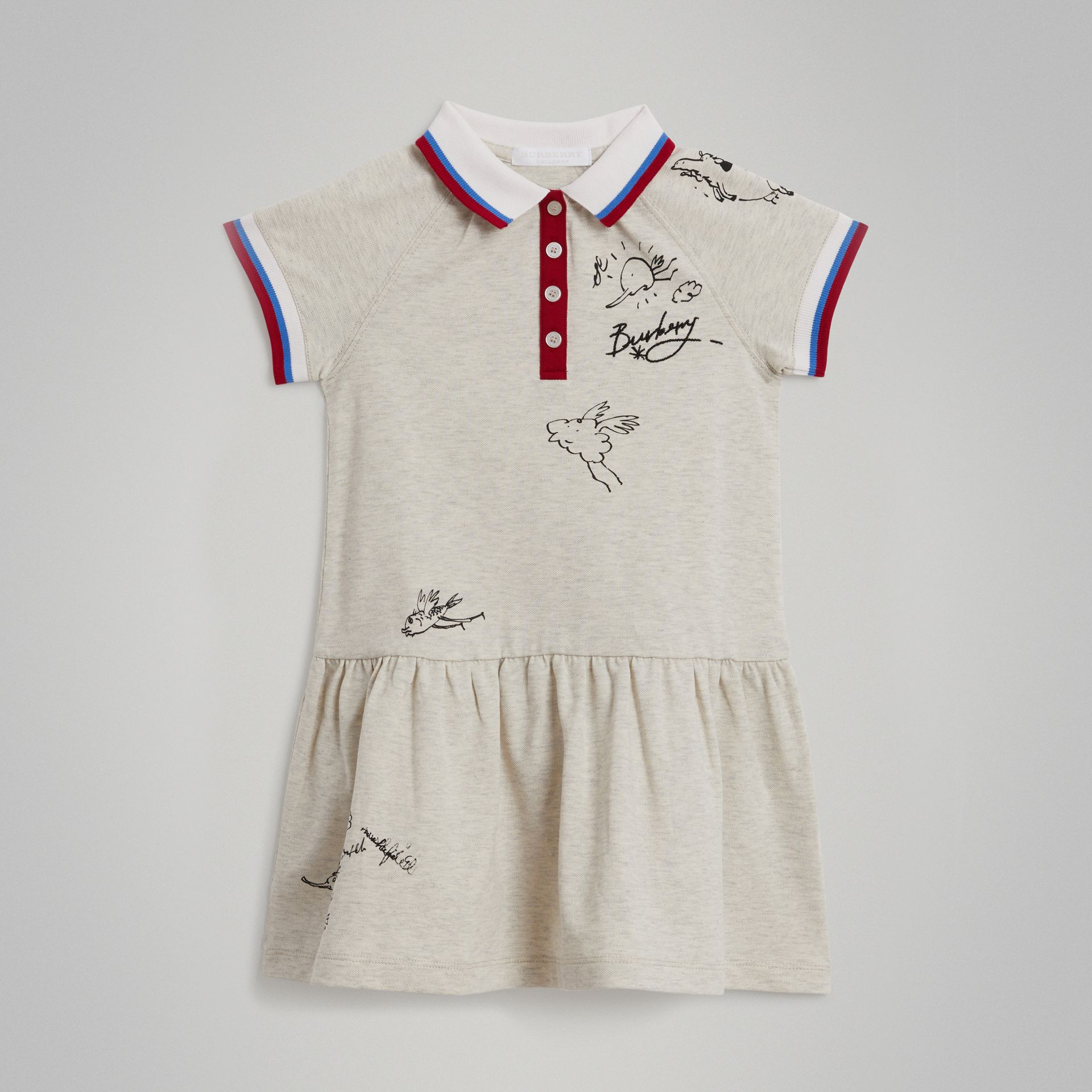 Robe polo en coton extensible (Camaïeu De Blancs) - Fille | Burberry Canada - photo de la galerie 0