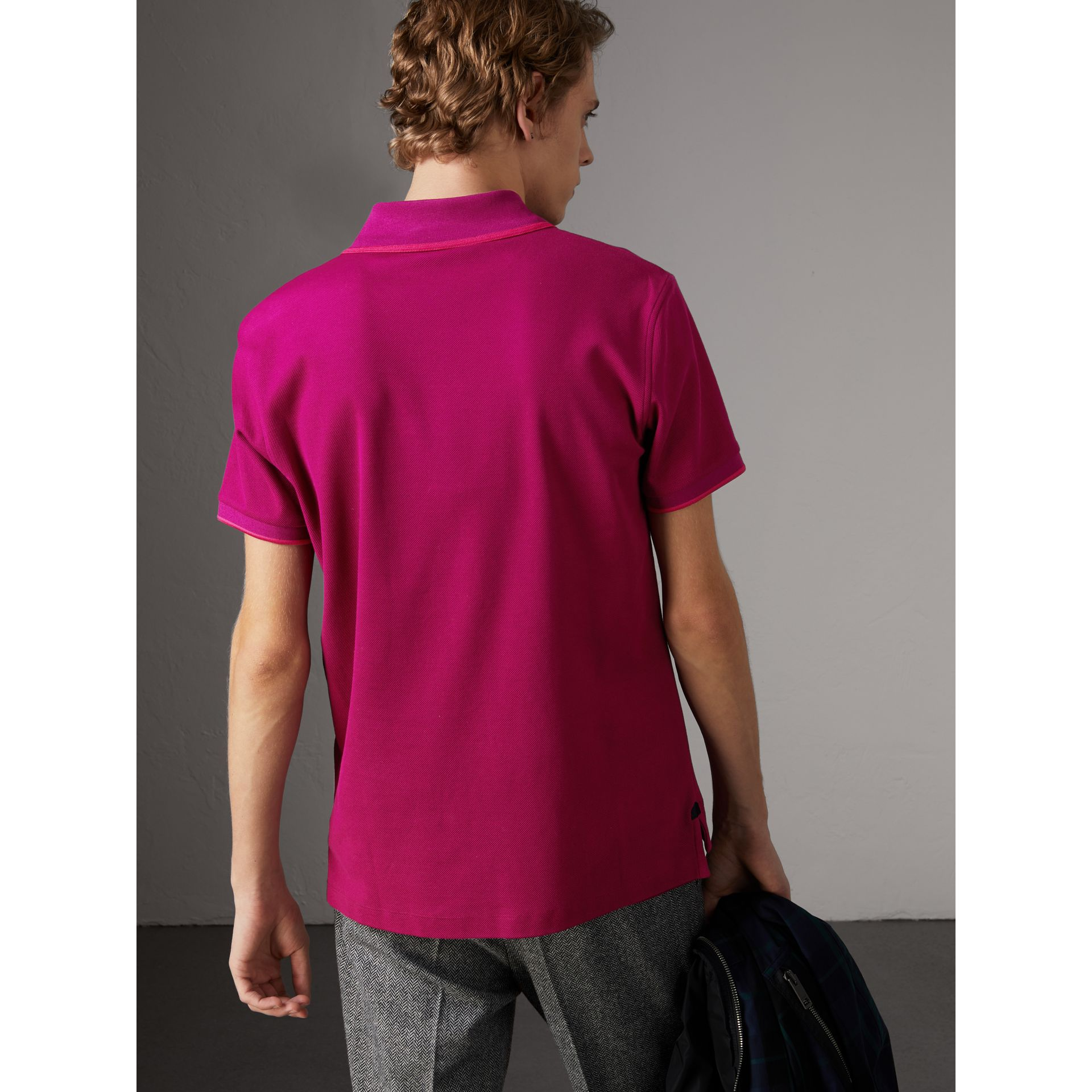 Cotton Piqué Polo Shirt in Bright Fuchsia - Men | Burberry - gallery image 2