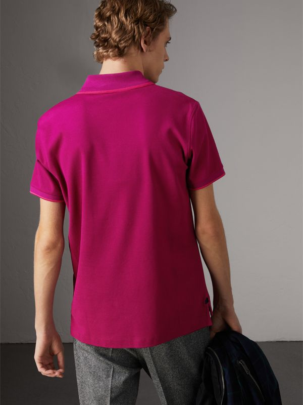 Cotton Piqué Polo Shirt in Bright Fuchsia - Men | Burberry - cell image 2