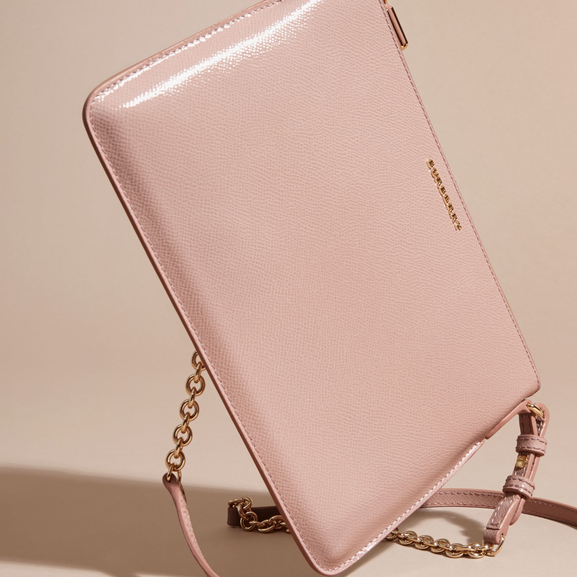 Patent London Leather Clutch Bag in Ash Rose - gallery image 8