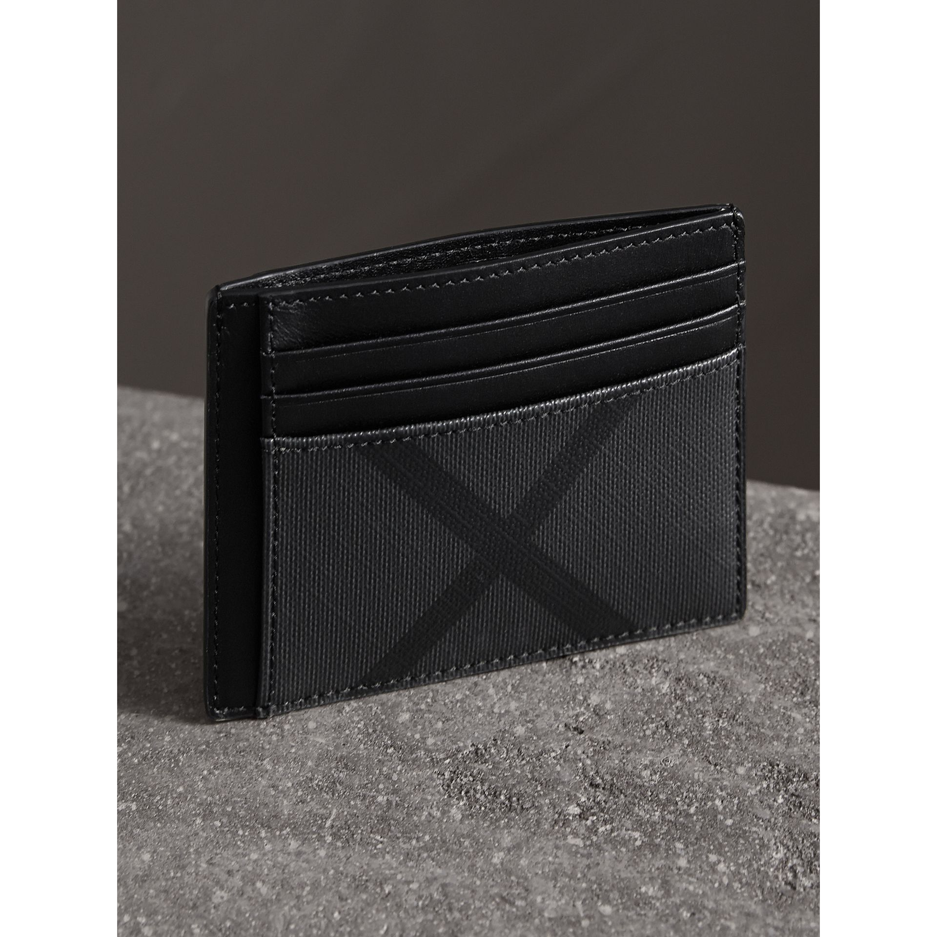 London Check Card Case in Charcoal/black - Men | Burberry - gallery image 3