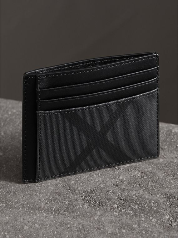 London Check Card Case in Charcoal/black - Men | Burberry United Kingdom - cell image 3