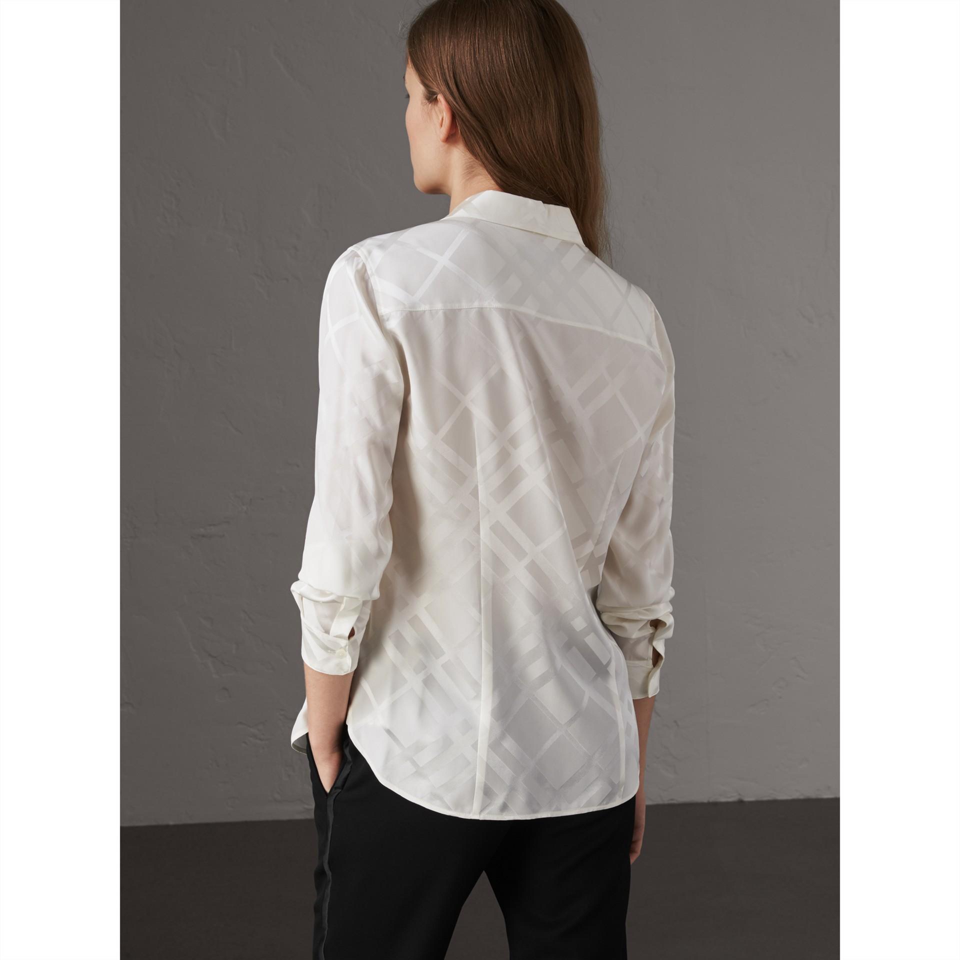 Tonal Check Silk Shirt in White - Women | Burberry Canada - gallery image 3