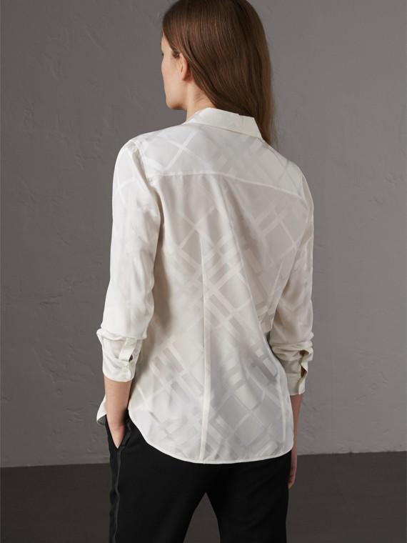Tonal Check Silk Shirt in White - Women | Burberry Australia - cell image 2