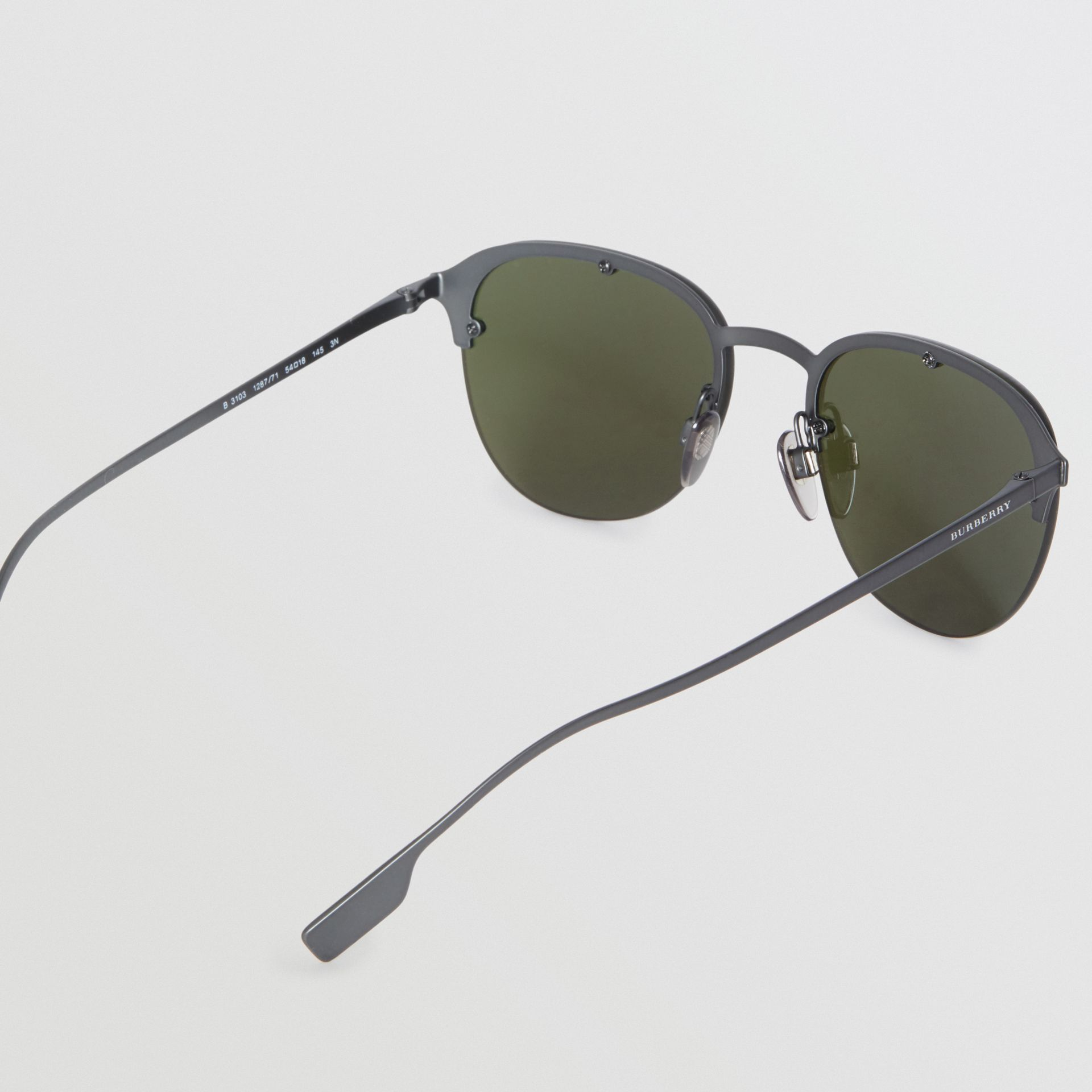 Round Frame Sunglasses in Green - Men | Burberry - gallery image 4