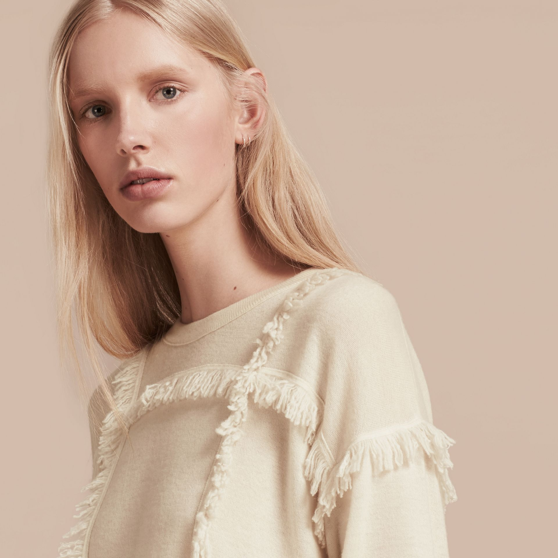 Natural white Fringed Cashmere Sweater - gallery image 5