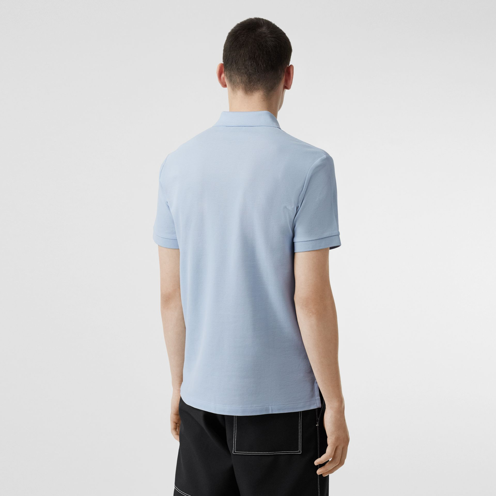 Monogram Motif Cotton Piqué Polo Shirt in Pale Blue - Men | Burberry Canada - gallery image 2