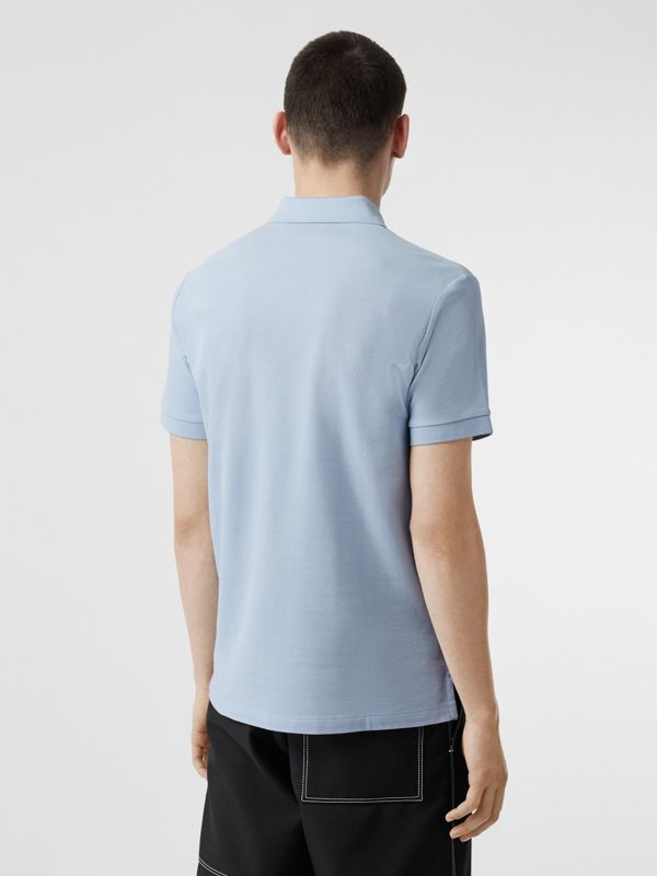 Monogram Motif Cotton Piqué Polo Shirt in Pale Blue - Men | Burberry Singapore - cell image 2